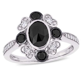 Trang sức Amour 1 1/4 CT TW Đen và White Round Kim cương Vintage Nhẫn đính hôn Vàng trắng 10K JMS004971 chính hãng sale giá rẻ Hà nội TPHCM