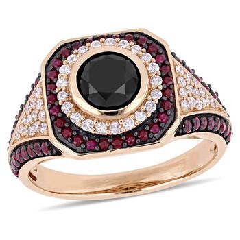 Trang sức Amour 1 1/4 CT TW Đen và Kim cương trắng và 5/8 CT Ruby Double Halo Nhẫn đính hôn Vàng hồng 10K JMS004973 chính hãng sale giá rẻ Hà nội TPHCM