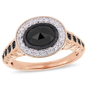 Trang sức Amour 1 1/4 CT TW Kim cương đen Halo Nhẫn đính hôn Vàng hồng 10K JMS004975 chính hãng sale giá rẻ Hà nội TPHCM