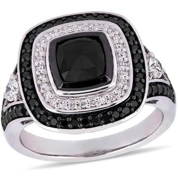 Trang sức Amour 2 CT TW Đen và Kim cương trắng Double Halo Nhẫn đính hôn Vàng trắng 10K JMS004978 chính hãng sale giá rẻ Hà nội TPHCM