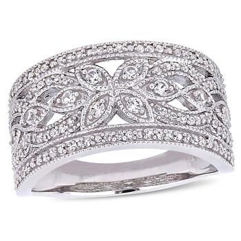 Trang sức Amour 1 1/3 CT TGW Created White Sapphire Filigree Nhẫn Vàng trắng 10K JMS004980 chính hãng sale giá rẻ Hà nội TPHCM