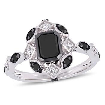Trang sức Amour 1 1/4 CT TW Đen và Kim cương trắng Vintage Nhẫn đính hôn Vàng trắng 10K JMS004983 chính hãng sale giá rẻ Hà nội TPHCM
