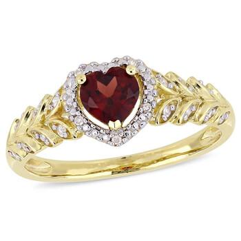 Trang sức Amour 1/2 CT TGW Garnet và Kim cương Halo Nhẫn trái tim Vàng 10K JMS005029 chính hãng sale giá rẻ Hà nội TPHCM
