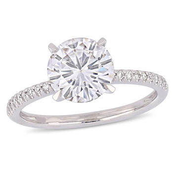 Trang sức Amour 2 CT TGW Round-Cut Moissanite-White và 1/10 CT TW Kim cương Nhẫn đính hôn Vàng trắng 14K JMS005039 chính hãng sale giá rẻ Hà nội TPHCM