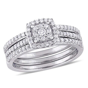 Trang sức Amour 1/2 cttw Kim cương Cluster Bridal Set Nhẫn Vàng trắng 14K JMS005281 chính hãng sale giá rẻ Hà nội TPHCM