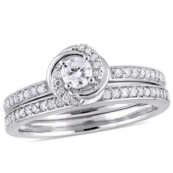 Trang sức Amour 1/2 CT TW Kim cương Swirl Bridal Set Nhẫn Vàng trắng 10K JMS005291 chính hãng sale giá rẻ Hà nội TPHCM