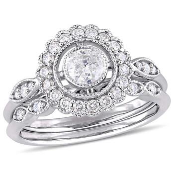 Trang sức Amour 3/4 CT TW Kim cương Bridal Set Nhẫn Vàng trắng 10K JMS005293 chính hãng sale giảm giá sỉ rẻ nhất ở Hà nội TPHCM