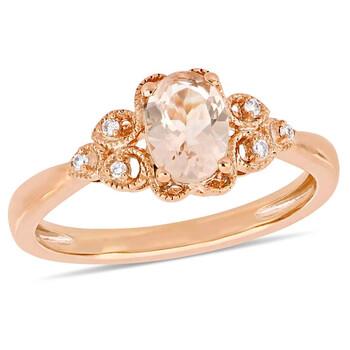 Trang sức Amour 0.03 CT Kim cương TW và 3/4 CT TGW Morganite Nhẫn thời trang Vàng hồng 10K JMS005328 chính hãng sale giá rẻ Hà nội TPHCM
