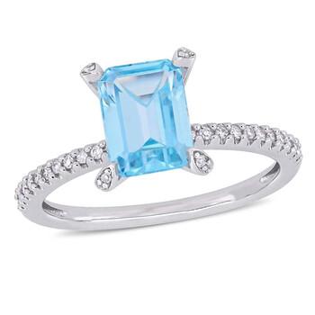 Trang sức Amour 1/10 CT Kim cương TW và 2 CT TGW Blue Topaz - Sky Nhẫn thời trang Vàng trắng 10K JMS005336 chính hãng sale giá rẻ Hà nội TPHCM