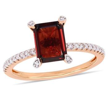 Trang sức Amour 1/10 CT Kim cương TW và 2 1/8 CT TGW Garnet Nhẫn thời trang Vàng hồng 10K JMS005337 chính hãng sale giá rẻ Hà nội TPHCM