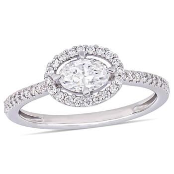 trang sức Amour 3/4 CT Oval và Round Kim cương TW Nhẫn đính hôn Vàng trắng 14K JMS005348 chính hãng sale giá rẻ tại Hà nội TPHCM