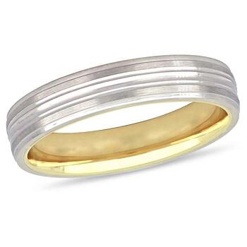 Trang sức Amour Nữ 10K Two-Tone Gold Lightweight 4mm Wedding Band JMS005354 chính hãng sale giá rẻ Hà nội TPHCM