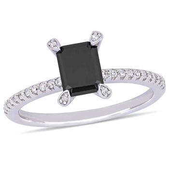Trang sức Amour 1 1/10 CT Đen và White Emerald và Round Kim cương TW Nhẫn thời trang Vàng trắng 10K JMS005392 chính hãng sale giá rẻ Hà nội TPHCM