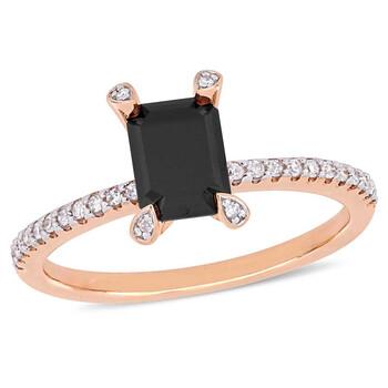 Trang sức Amour 1 1/10 CT Đen và White Emerald và Round Kim cương TW Nhẫn thời trang Vàng hồng 10K JMS005401 chính hãng sale giá rẻ Hà nội TPHCM