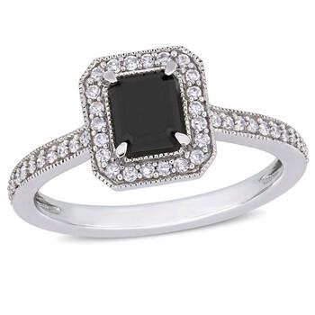 Trang sức Amour 1 1/4 CT Đen và White Emerald và Round Kim cương TW Nhẫn thời trang Vàng trắng 10K JMS005402 chính hãng sale giá rẻ Hà nội TPHCM