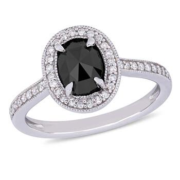 Trang sức Amour 1 1/6 CT Đen và White Oval và Round Kim cương TW Nhẫn thời trang Vàng trắng 10K JMS005403 chính hãng sale giá rẻ Hà nội TPHCM