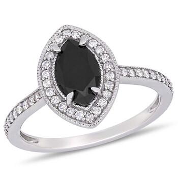 Trang sức Amour 1 1/4 CT Đen và White Marquise và Round Kim cương TW Nhẫn thời trang Vàng trắng 10K JMS005405 chính hãng sale giá rẻ Hà nội TPHCM
