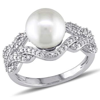 Trang sức Amour Vàng trắng 10K FW White Pearl và 1/5 CT TDW Kim cương Crossover Nhẫn chính hãng sale giá rẻ Hà nội TPHCM