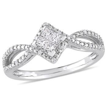 Trang sức Amour Vàng trắng 10K 1/4 CT TDW Kim cương Nhẫn đính hôn chính hãng sale giá rẻ Hà nội TPHCM