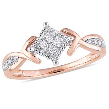 Trang sức Amour 10K Two-Tone Gold 1/10 CT TDW Kim cương Crossover Nhẫn chính hãng sale giảm giá sỉ rẻ nhất ở Hà nội TPHCM