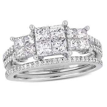 Trang sức Amour Vàng trắng 14K 1 1/3 CT TDW Kim cương Bridal Set Nhẫn chính hãng sale giá rẻ Hà nội TPHCM