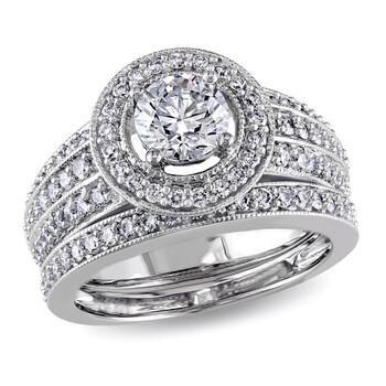 Trang sức Amour Vàng trắng 14K 1-1/2 CT TDW Kim cương Halo Bridal Set Nhẫn chính hãng sale giá rẻ Hà nội TPHCM