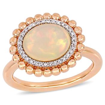 Trang sức Amour Vàng hồng 14K 2 CT TGW Ethiopian Blue Opal và 1/10 CT TDW Kim cương Halo Nhẫn chính hãng sale giá rẻ Hà nội TPHCM