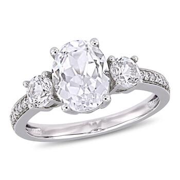 Trang sức Amour Nữ Vàng trắng 10K 3.59 Ct Oval Cut White Sapphire và Kim cương 3 Stone Nhẫn chính hãng sale giá rẻ Hà nội TPHCM