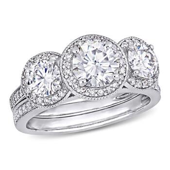 Trang sức Amour Nữ Vàng trắng 14K 2 Ct Round Cut White Moissanite và 0.4 Ct Kim cương Wedding Set Nhẫn chính hãng sale giá rẻ Hà nội TPHCM