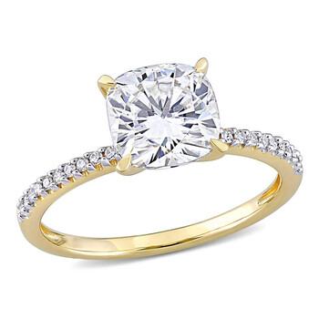 Trang sức Amour Nữ Vàng 14K 2 Ct Cushion Cut White Moissanite và Kim cương Pave Nhẫn chính hãng sale giá rẻ Hà nội TPHCM