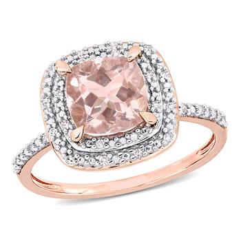 Trang sức Amour Nữ Vàng hồng 14K 1.65 Ct Cushion Cut Champagne Morganite Halo Nhẫn chính hãng sale giá rẻ Hà nội TPHCM