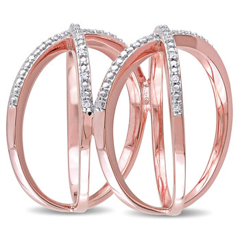Trang sức Amour Rose mạ Silver 1/10 CT TDW Kim cương Criss Cross Nhẫn chính hãng sale giá rẻ Hà nội TPHCM