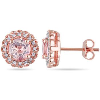 Trang sức Amour Rose mạ Silver 1 3/4 CT TGW Morganite và 1/10 CT TDW Kim cương Floral Halo Stud Bông tai (khuyên tai