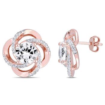 Trang sức Amour Rose mạ Silver 5 1/7 CT TGW White Topaz Spiral Bông tai (khuyên tai
