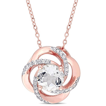 Trang sức Amour Rose mạ Bạc 925 2-3/5 CT TGW White Topaz Interlaced Floral Swirl Pendant với Chain chính hãng sale giá rẻ Hà nội TPHCM