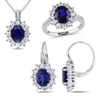 Trang sức Amour 1/10 CT Kim cương TW và 16 1/8 CT TGW Created Blue Sapphire Created White Sapphire Set với Chain Silver GH I3 JMS004731 chính hãng sale giá rẻ Hà nội TPHCM