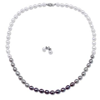 """Trang sức Amour Set of 18"""" Dây chuyền (vòng cổ) w/6-7mm Multi-Colored Pearls chính hãng sale giá rẻ Hà nội TPHCM"""