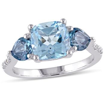 Trang sức Amour Silver 0.03 CT Kim cương TW và 3 1/2 CT TGW Blue Topaz - Sky Blue Topaz - London Nhẫn thời trang chính hãng sale giá rẻ Hà nội TPHCM