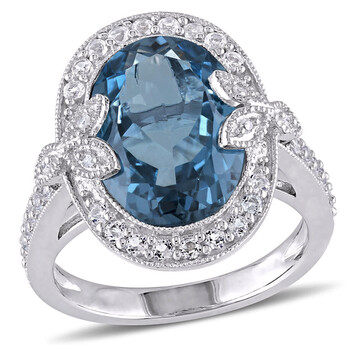 Trang sức Amour Silver 0.03 CT Kim cương TW và 7 7/8 CT TGW Blue Topaz - London White Topaz Nhẫn thời trang chính hãng sale giá rẻ Hà nội TPHCM
