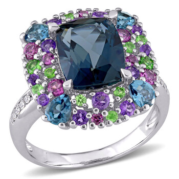 Trang sức Amour Silver 0.04 CT Kim cương TW và 5 4/5 CT TGW Blue Topaz - London Rhodolite Amethyst Tsavorite Nhẫn thời trang chính hãng sale giá rẻ Hà nội TPHCM