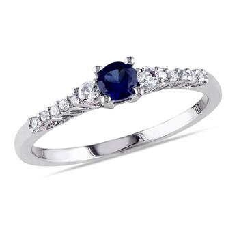 Trang sức Amour Silver 0.05 CT Kim cương TW và 1/3 CT TGW Created Blue Sapphire Created White Sapphire Nhẫn thời trang chính hãng sale giá rẻ Hà nội TPHCM