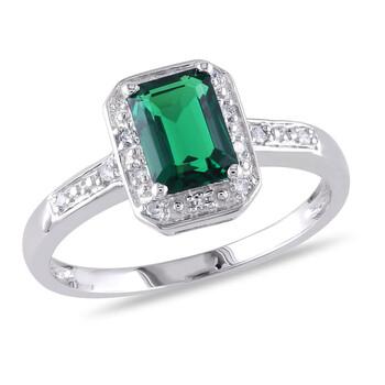 Trang sức Amour Silver 0.06 CT Kim cương TW và 7/8 CT TGW Created Emerald Nhẫn thời trang chính hãng sale giá rẻ Hà nội TPHCM