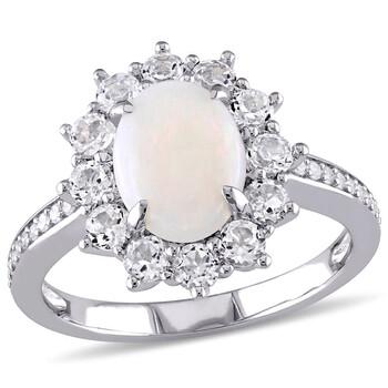 Trang sức Amour Silver 1/10 CT Kim cương TW và 2 CT TGW Opal White Topaz Nhẫn thời trang chính hãng sale giá rẻ Hà nội TPHCM