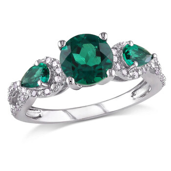 amour silver 1 6 ct diamond tw and 1 5 8 ct tgw created emerald fashion ring jms008322