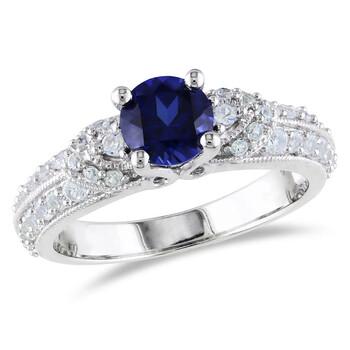 Trang sức Amour Silver 1.67 CT TGW Created Blue Sapphire Created White Sapphire Nhẫn thời trang chính hãng sale giá rẻ Hà nội TPHCM