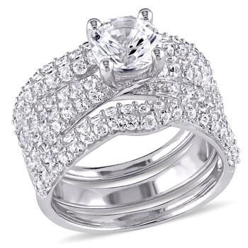 Trang sức Amour Silver 4 1/5 CT TGW Created White Sapphire Nhẫn thời trang chính hãng sale giá rẻ Hà nội TPHCM