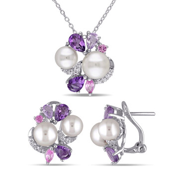Trang sức Amour Silver 4 CT TGW Created White và Pink Sapphire
