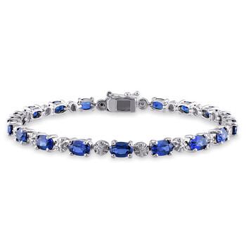 Trang sức Amour Bạc 925 0.02 CT TDW Kim cương và 9 7/8 CT TGW Created Blue Sapphire Tennis Vòng đeo tay chính hãng sale giá rẻ Hà nội TPHCM
