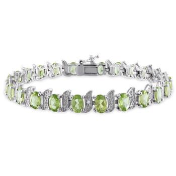 Trang sức Amour Bạc 925 0.03 CT TDW Kim cương và 11 3/4 CT TGW Peridot Tennis Vòng đeo tay chính hãng sale giá rẻ Hà nội TPHCM