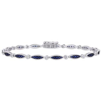 Trang sức Amour Bạc 925 1 1/3 CT TGW Created Blue và White Sapphire Infinity Link Vòng đeo tay chính hãng sale giá rẻ Hà nội TPHCM